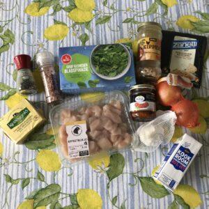 Ingrediënten voor Kip met spinazie en Parmezaanse kaas